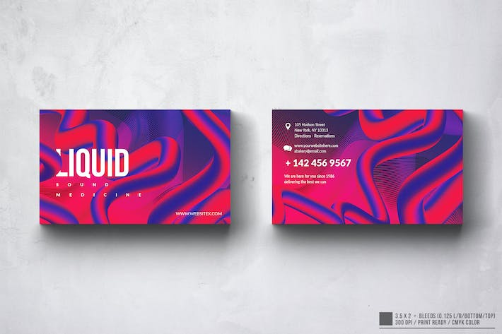 Thumbnail for Liquid Sounds Business Card Design