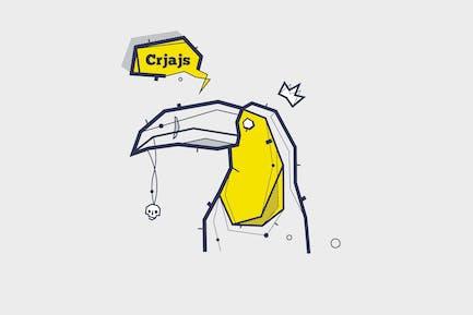 vector tattoo illustration with toucan bird