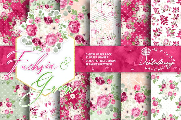 Thumbnail for Watercolor Fuchsia And Green digital paper pack