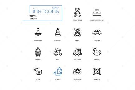 Toys - modern vector line design icons set