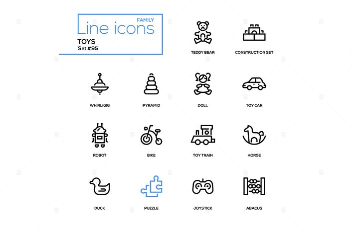 Thumbnail for Toys - modern vector line design icons set