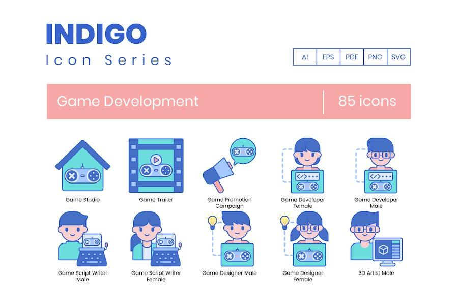 85 Icons für Spieleentwicklung - Indigo-Serie