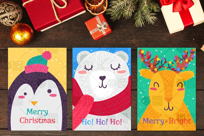 Thumbnail for Christmas Greeting Cards With Animals Set