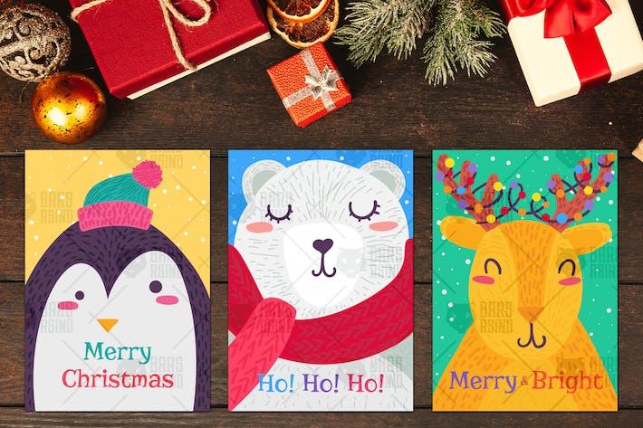 Thumbnail for Weihnachts-Grußkarten mit Tieren Set