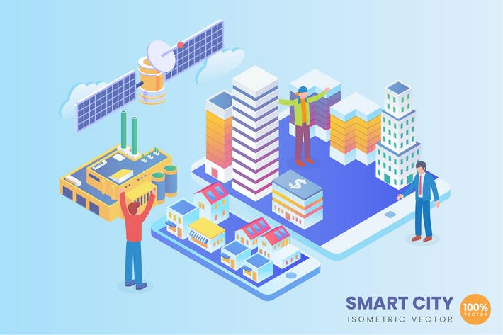 Thumbnail for Isometric Smart City Concept Vector Concept