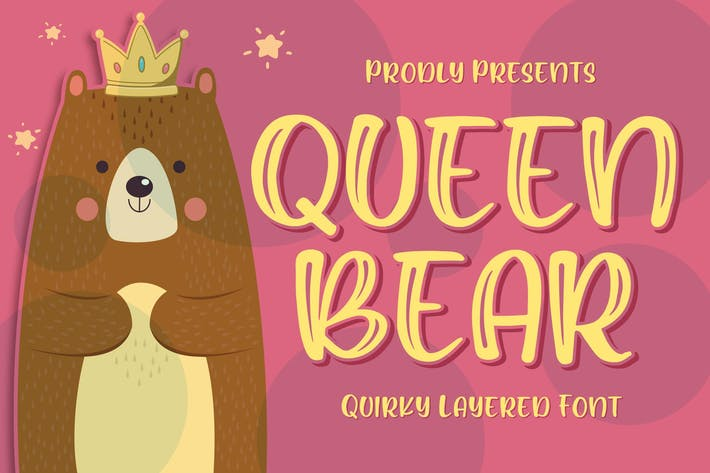 Thumbnail for Queen Bear - Quirky Layered Font