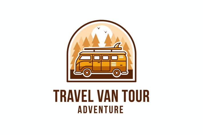 Thumbnail for Travel Van Tour Adventure Logo Template
