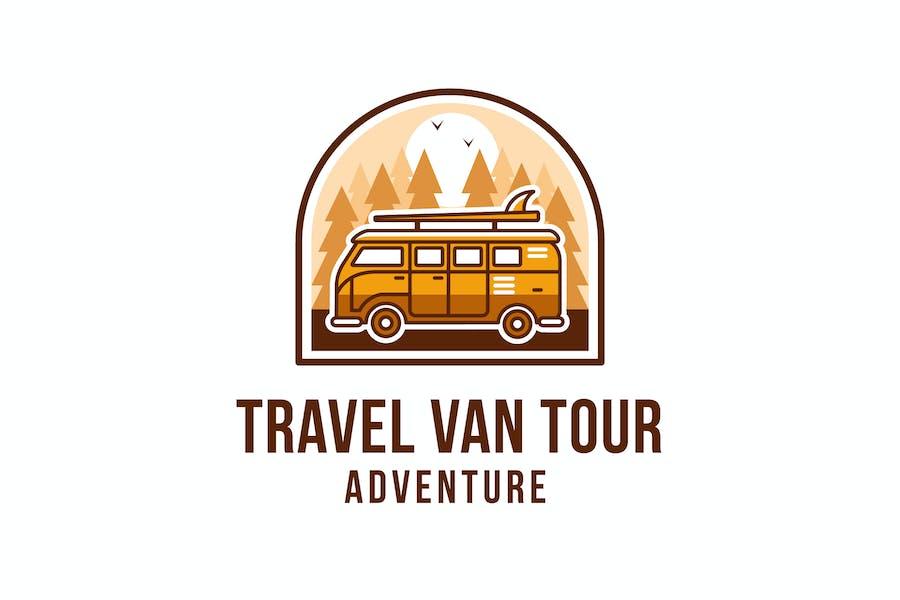 Travel Van Tour Adventure Logo Template