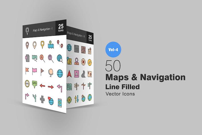 Thumbnail for 50 Карты и навигационная линия заполнены Иконки