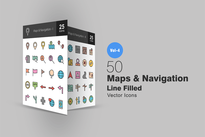 Thumbnail for 50 Íconos llenos de mapas y líneas de navegación