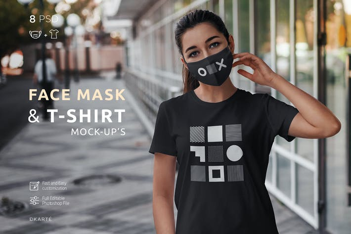 Thumbnail for Face Mask & T-Shirt Mock-Up
