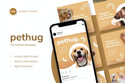 Pethug Post - Pet Animal Instagram Post Template