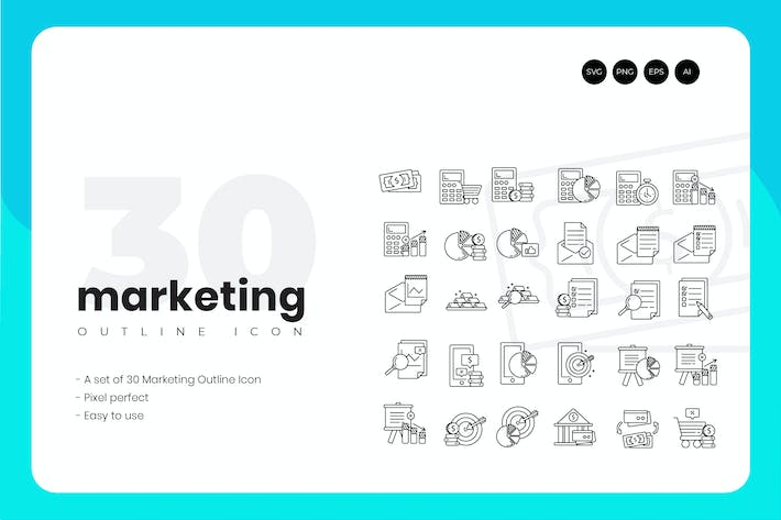 Thumbnail for 30 Marketing Outline Icon Set
