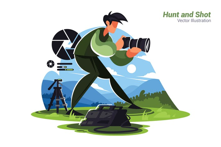 Hunt and Shot - Vector Illustration