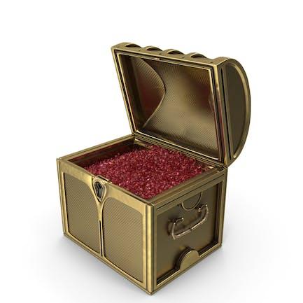 Kleine goldene Truhe mit winzigen Rubin-Edelsteinen