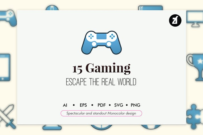 Thumbnail for 15 Gaming elements in monocolor design