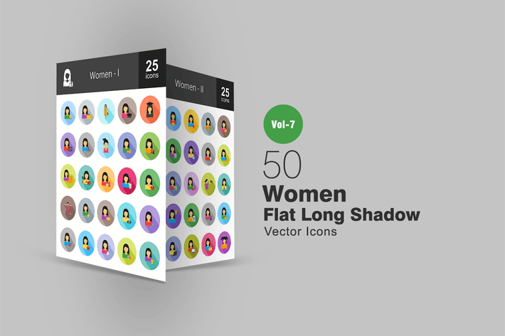 Thumbnail for 50 Women Flat Shadowed Icons