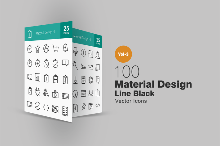 Thumbnail for 100 Material Design Line Icons