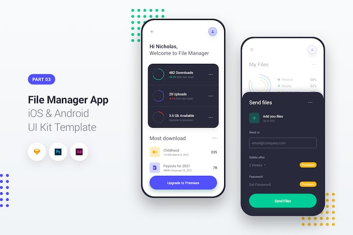 Thumbnail for File Manager App iOS & Android UI Kit Template 3