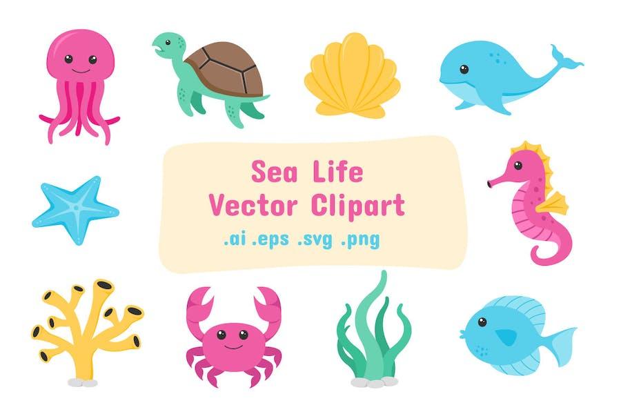 Sea Life Vector Clip Art