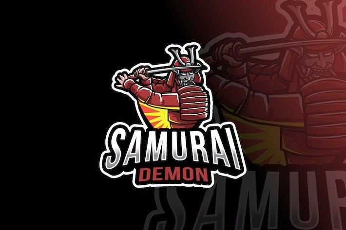 Thumbnail for Samurai Demon Logo Template