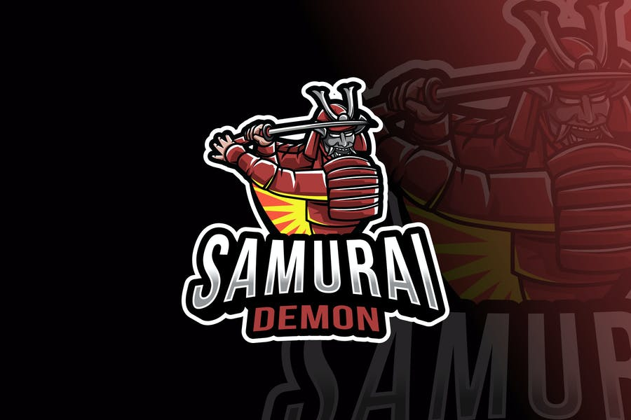 Samurai Demon Logo Template