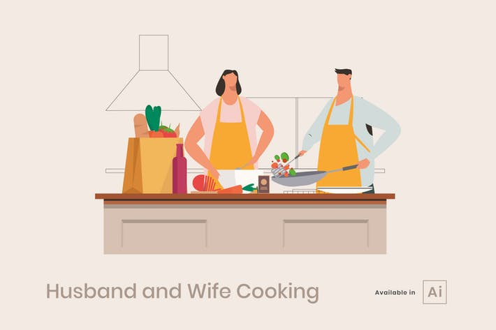 Thumbnail for Husband and Wife Cooking Together Illustration