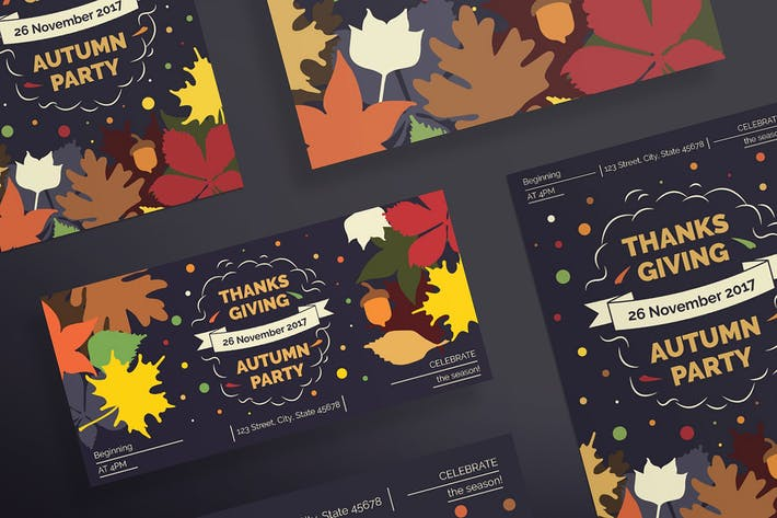 thanksgiving party flyer and poster template by ambergraphics on