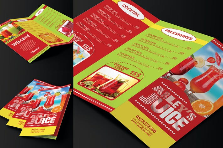 Thumbnail for Trifold Drinks Menu Template