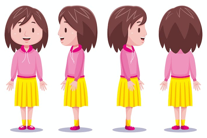 Thumbnail for Cute girl character in different poses #3