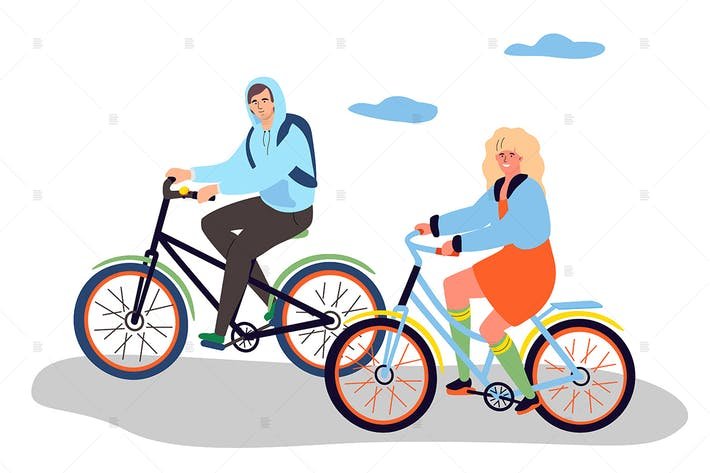 Thumbnail for Boy and girl cycling - flat design illustration