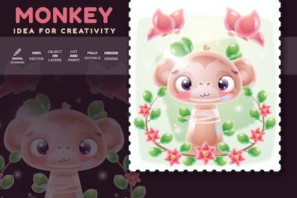 Monkey With Butterfly - Stylish Illustration
