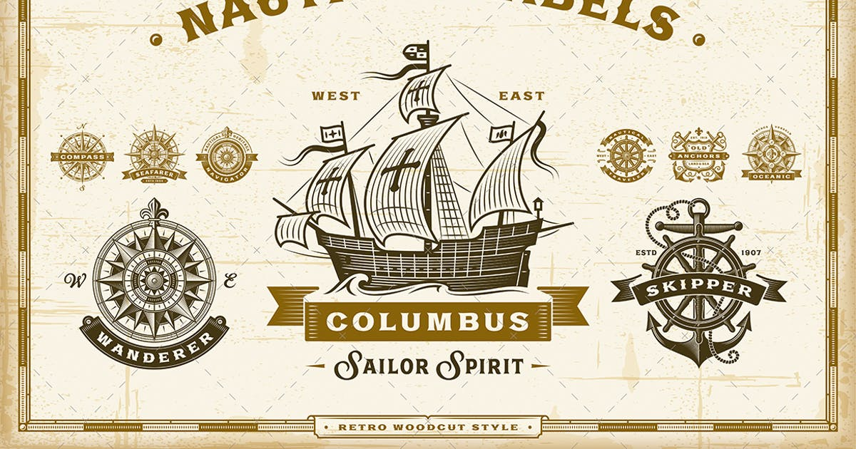 Download Vintage Nautical Labels Collection by iatsun