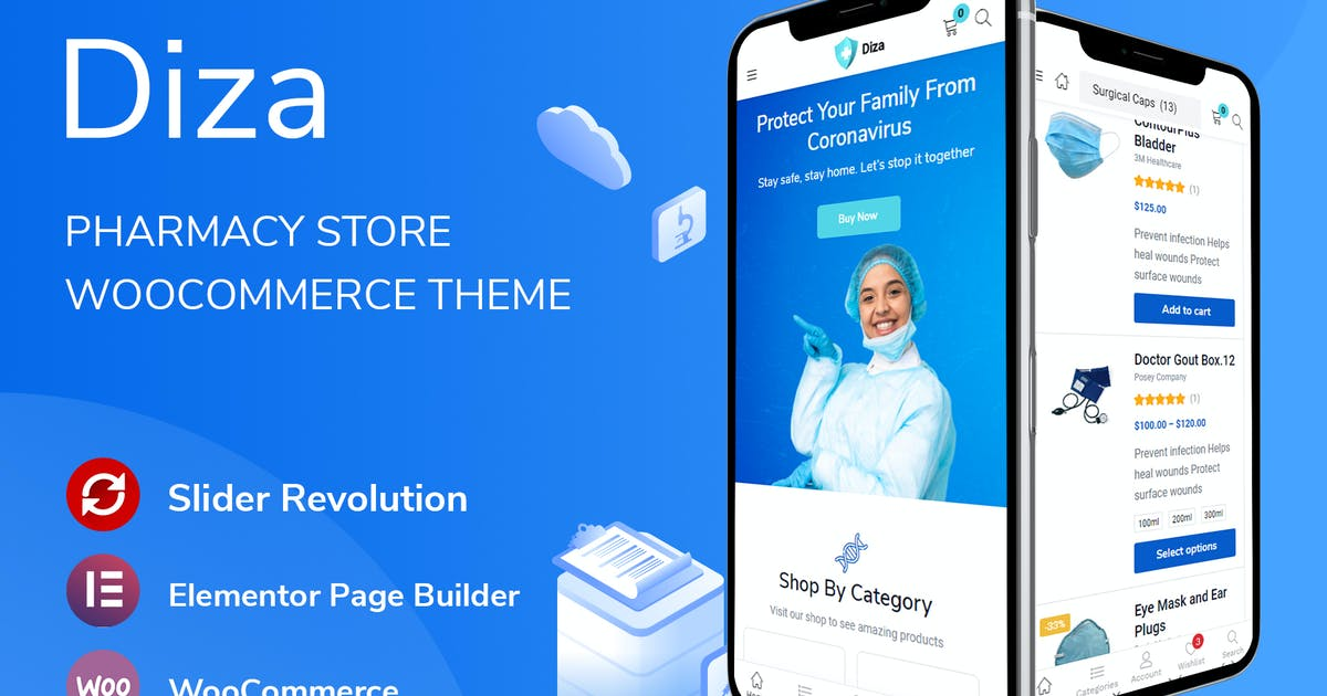 Download Diza - Pharmacy Store Elementor WooCommerce Theme by thembay