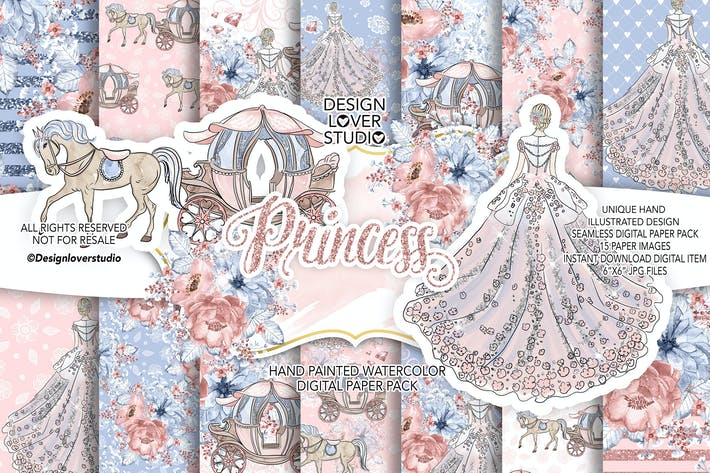 Thumbnail for Princess digital paper pack
