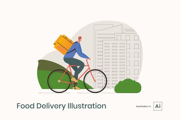 Illustration de la livraison de nourriture