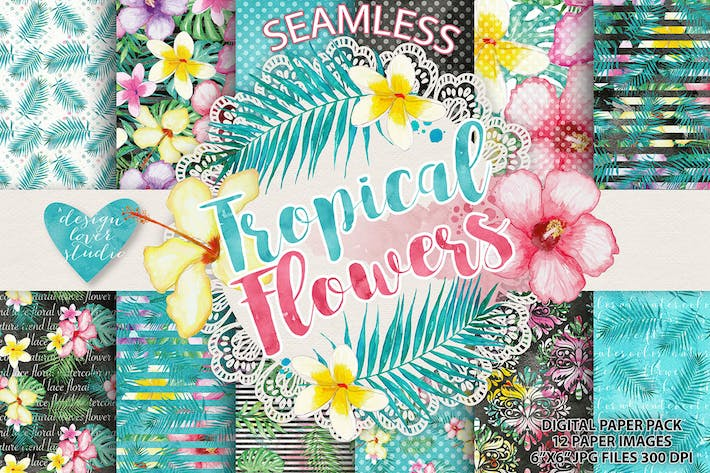 Thumbnail for Tropical digital paper pack 2