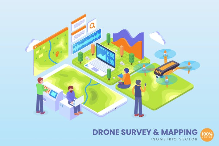 Thumbnail for Isometric Drone Survey and Mapping Vector Concept