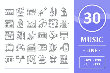 30 Music Icons - Line