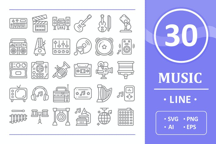 Thumbnail for 30 Music Icons - Line