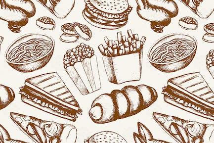 Fast Food - eine Farbe, handgezeichnet nahtloses Muster