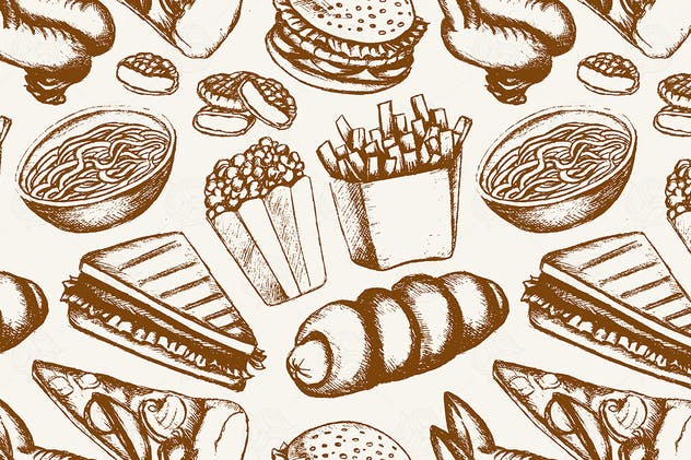 Fast food - one color hand drawn seamless pattern - product preview 0