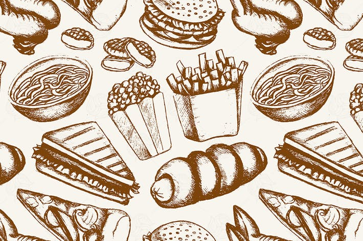 Thumbnail for Fast food - one color hand drawn seamless pattern