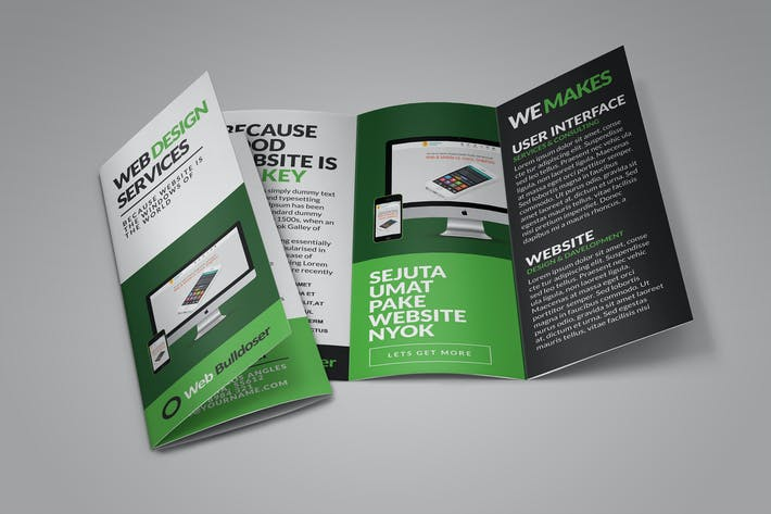 Thumbnail for Web Design Trifold Brochure Templates