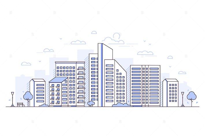 Thumbnail for Horizontal urbano - ilustración de estilo de Diseño de línea