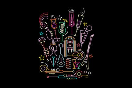 Neonfarben Cocktail Party Vektor Illustration