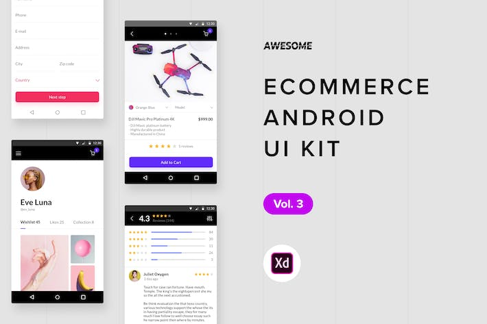 Thumbnail for Android UI Kit - Ecommerce Vol. 3 (Adobe XD)