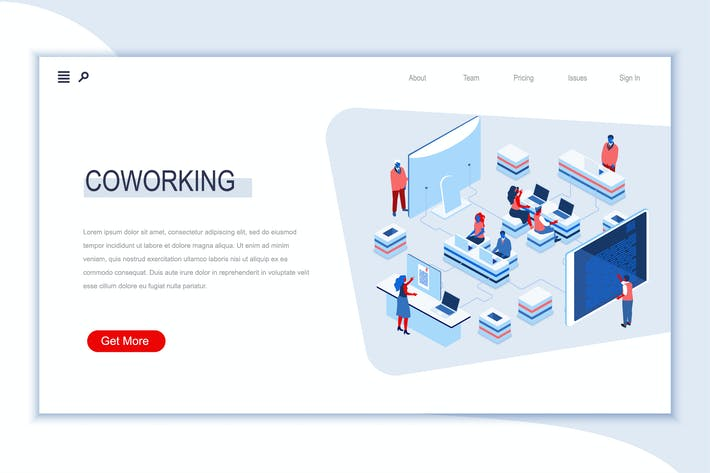 Coworking Office Isometric Banner Flat Concept