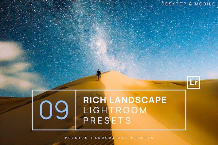 Thumbnail for 9 богатых ландшафтных Пресеты Lightroom + Мобильный