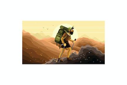 Mountain Hiking Vector Graphics Illustration